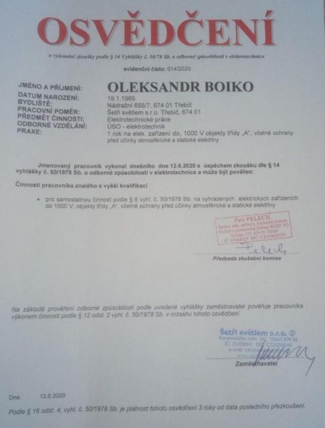 Osvědčení - pan Bojko